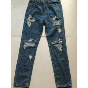 Signature 8 Women Blue Destructed Distressed Jeans